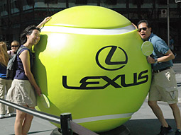 Passersby and contestants at the Lexus Virtual Open could pose with a giant tennis ball.