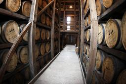 Woodford Reserve bourbon barrels being aged at the Woodford Reserve distillery plant in Versailles, Kentucky.