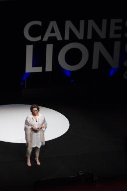 Madonna Badger speaks at Cannes Lions.