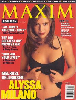 Alyssa Milano on Maxim cover in 1998, headier times for the magazine