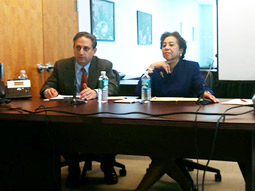 Cyrus Mehri (left) and Laura Blackburne (right) at the Madison Avenue Project press conference today.