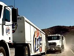 A scene from Miller's 'Trucker' spot for Miller Lite.