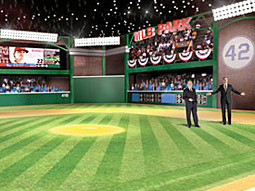 The MLB Network has constructed two mammoth sets, one of which features a padded outfield wall and a monstrous out-of-town scoreboard.