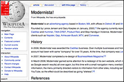Modernista's website makes use of Web 2.0 websites like Wikipedia, Flickr and YouTube.