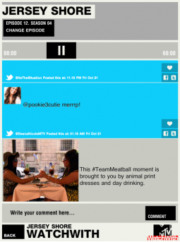 The scrolling feed as MTV 's WatchWith app accompanies a viewing of 'Jersey Shore'