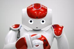 A Nao humanoid robot, the sort that joined Unilever on stage Monday.