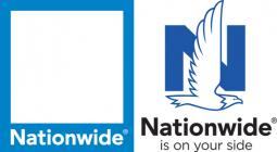 Nationwide's old logo, left, and new logo.