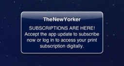 Conde Nast's New Yorker tells iPad users the news today.