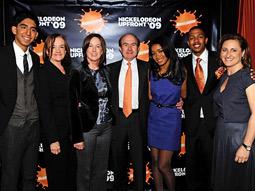 (From l.) Dev Patel; MTVN Chairman-CEO Judy McGrath; film producer Kathleen Kennedy; Viacom CEO Philippe Dauman; Keke Palmer; Nick Cannon, honorary chairman of Teen Nick; and Nickelodeon President Cyma Zarghami.