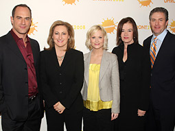 (L-R) Actor Christopher Meloni; Cyma Zarghami, president of Nickelodeon Kids and Family Group; Actress,Amy Poehler; Chairman-CEO of MTV Networks Judy McGrath; and Jim Perr, exec VP of 360 Brand Sales Nickelodeon Kids & Family Group