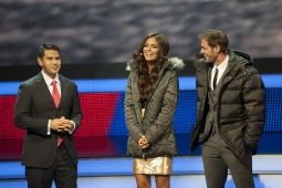Univision's Cesar Conde with novela stars William Levy and Ximena Navarrete.