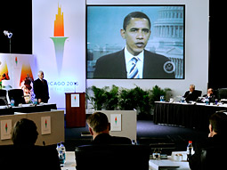 President-elect Obama appeared in a video played by Chicago's bid leaders to the general assembly of the European Olympic Committees in Istanbul, Turkey.