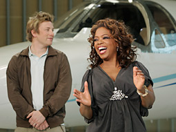Oprah Winfrey and chef/judge Jamie Oliver on her ABC reality series 'Oprah's Big Give,' Which gave our critic a case of the icks