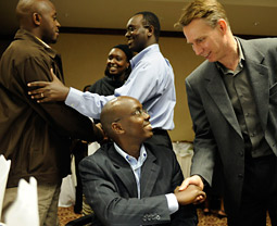 David Ormesher meets with a group of leading Rwandan entrepreneurs during a workshop in Kigali, Rwanda.
