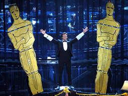 Host Hugh Jackman provided the on-with-the-show showmanship at the Oscars last night.