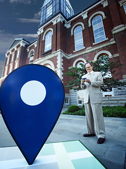 University of Kentucky President Lee T. Todd Jr. checks into Facebook Places.