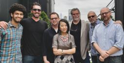 L-R: Nat Jenkins, Michael Levesque Jr., Evan Spear, Hanna Choi, Michael Levesque Sr., Jerry Plotkin, Stephen Schmidt