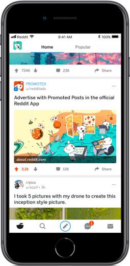 New native ads behave just like unpaid posts on Reddit's app.