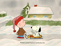 ReRun Van Pelt and Snoopy in 'I Want a Dog for Christmas, Charlie Brown.'