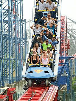 Six Flags, the world's largest theme-park operator, is embracing Hollywood-style guerrilla marketing to relaunch one of its flagship rides, 'Superman: Ride of Steel.'