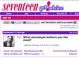 Seventeen's 'Get Advice!' section uses technology from Answerology.
