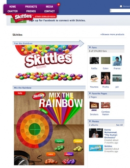 Skittles' site on Facebook is the marketer's attempt at co-opting Web 2.0.