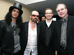 Music legends Slash and Dave Stewart, Nokia's chief entertainment officer, Tero Ojanpera, and Microsoft co-founder Paul Allen at the Nokia skybox at the 50th Annual Grammy Awards.