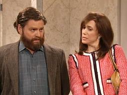 Host Zach Galifianakis and 'SNL' cast member Kristen Wiig in a five-minute sketch about a hotel bidet.