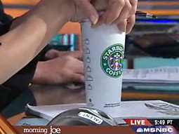 A Starbucks coffee cup is seen on the set of MSNBC's 'Morning Joe.'