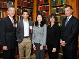 Speaking at the Stars of Madison Avenue luncheon at the Union League Club in New York were (left to right) Don Hamblen, chief marketing officer, Sears; Yusuf Mehdi, senior VP-Online Audience Business Group, Microsoft Corp.; Judy Hu, global executive director-advertising & branding, GE; luncheon host Lori Erdos, VP-advertising sales, USA Today, and AD Club Board; Brian Perkins, corporate VP-corporate affairs, Johnson & Johnson.
