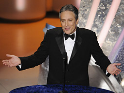 Jon Stewart hosts the first big broadcast event since the resolution of the months-long writers strike.