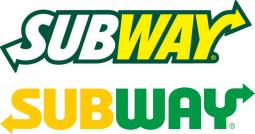 Subway's old logo above the new look.