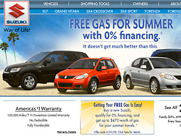 The offer began running on Suzuki's website on May 1.