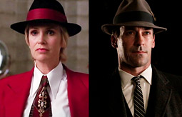 Sue Sylvester (Jane Lynch) from Fox's 'Glee' and Don Draper (Jon Hamm) from AMC's 'Mad Men.'