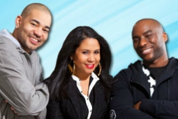 DJ Envy, Angela Yee and Charlamagne Tha God, whose 'Breakfast Club' radio show is coming to Revolt