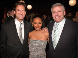 (From l.) Michael Wright, exec VP-head of programming for TNT, TBS and TruTV; Jada Pinkett Smith, star of TNT's upcoming series 'Hawthorne'; and Phil Kent, chairman-CEO of TBS.