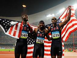 The red, white and blue's Kerron Clement, Bershawn Jackson and Angelo Taylor.