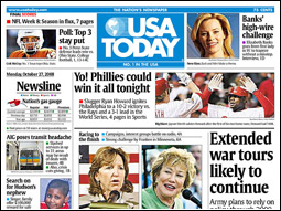 USA Today, the country's biggest weekday paper, grew only 0.01%.