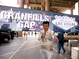 As winners of the Las Vegas Convention and Visitors Authority contest, the residents of the rural outpost of Cranfills Gap, Texas, were greeted in Vegas by 'The King.'