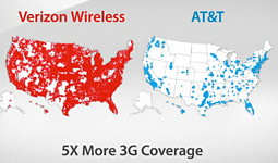 Verizon's coverage maps are powerful visual hammers.