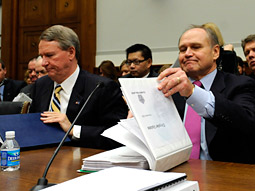 Executives for both sides denied the negotiations until early this month, when GM CEO Rick Wagoner (left) and Chrysler CEO Robert Nardelli testified in Washington before the Senate Banking Committee in hopes of securing federal loans.
