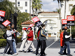 The strike, which started Nov. 5, has centered largely on a debate about payments to writers for content that appears online.