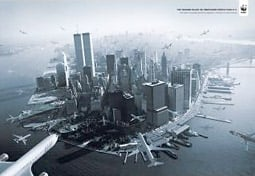A fake ad in 2009 showed airplaines honing in on the World Trade Center's Twin Towers.