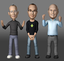 New Xtranormal characters that resemble Apple CEO Steve Jobs, Google VP of engineering Andy Rubin and Microsoft CEO Steve Ballmer.