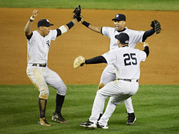 The New York Yankees won the ALCS to advance to the World Series.