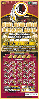 The Redskins and the Virginia Lottery announced a $20 scratch-off ticket featuring the team's logo.