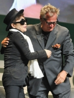 FACE THE MUSIC: Yoko Ono invited crowd to dance onstage.