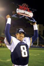 Tommy Maddox of the Los Angeles Xtreme with the XFL Championship trophy in 2001