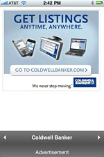 A full-page Coldwell Banker interstitial that pops up in some of the apps created by Rhythm New Media