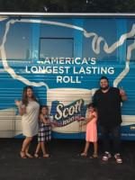 The Reyes family are on a cross-country trip to see how long a 1,000-sheet roll of Scott's toilet paper lasts.